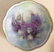 Decorative Hanging Plate Painted Lilacs Gold Scalloped Edges Purple Blues Green
