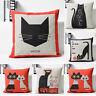 Cartoon Cat Cute Cotton Linen Throw Pillow Case Sofa Cushion Cover Home Decor