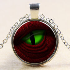 Vintage Cabochon Tibetan Silver Glass Chain longan red Pendant Necklace E