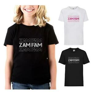 New Childrens Girls Rebecca Zamolo Zamfam Inspired T-Shirt Kids Youtuber Tee Top