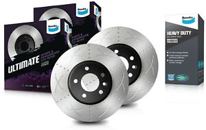 Front Bendix Ultimate Slotted Brake Rotors & Heavy Duty Brake Pads BR2060 DB1841