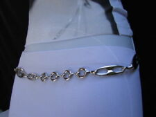 Women Classy Silver Metal Skinny Rings Chains Belt Multi G Chic Pattern Size M L
