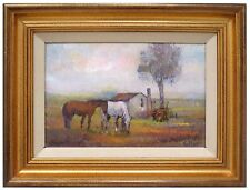 Landscape Oil Painting Italian Horse Pasture Fortunato Vallone Descanso Framed