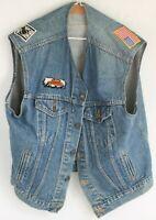 Vintage Levi Strauss Denim Jeans Vest Size 46 w/ Harley Davidson Patches