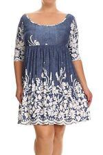 NWT 2XL Blue White Eyelet Floral Empire Waist Dress Tunic Top Shirt XXL