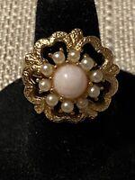 Vintage Sarah Coventry Angel Pink Adjustable Ring