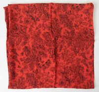 40s Vintage Old Stock Silky Rayon Bold Red & Black Chinese Garden Pattern 2 yds