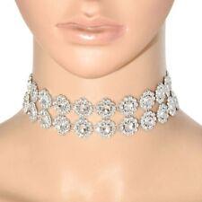 CLEARANCE Plastic Rhinestone Vintage Acrylic Rhinestone Necklace Silver Plated