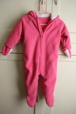 Old Navy girls Pink Bunting Snowsuit 6-12 Month Hooded with Ears