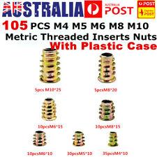 105 X M4 M5 M6 M8 M10 THREADED HEX DRIVE INSERT FIXING WOOD SCREW INSERTS NUT AU