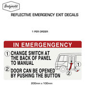 Coaster Bus IN AN EMERGENCY Reflective sticker 200mm x 100mm