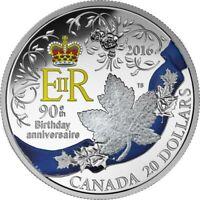 2016 CANADA RCM $20 Celebration of Her Majesty's 90th Birthday 9999 Silver