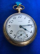 Antique Father Time 18s 21J Elgin Rare Grade 252 Gold Pocket Watch Nice Working