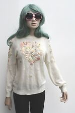 Floral Cream Embroidered Granny Knitted Light Winter Jumper 80s Indie Grunge