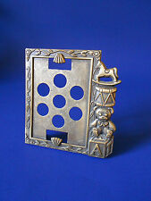 """Brass Picture Frame, Childrens toy horse, drum, bear, block 3 1/4"""" x 2 1/4""""Sears"""