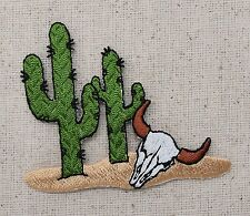Iron On Embroidered Applique Patch Saguaro Cactus Desert Western Steer Cow Skull