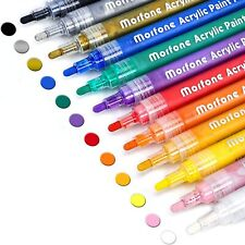 Acrylic Paint Marker Pens, Set of 12 Colors Markers Water Based Paint Pen for