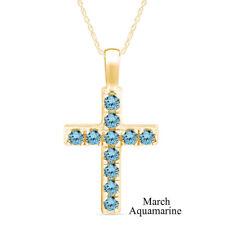 Cyber Monday 1 Cttw Aquamarine Birthstone Cross Pendant Necklace 14k Gold On