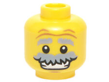 LEGO - Minifig, Head Bushy Gray Moustache & Raised Eyebrows w/ Open Smile