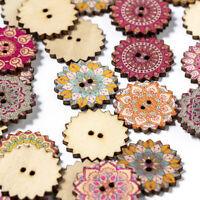 100Pcs/lot Wooden Buttons 2Holes Flower DIY Sewing Scrapbooking Craft 20/25mm UK