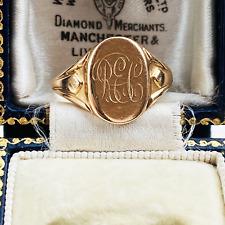 Antique, Edwardian Gents 15ct, 15k, 625 Rose Gold Signet ring, Circa 1915