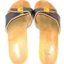 Vintage Dr Scholls Original Exercise Size 8 Wooden Slides Sandals Slip On Shoes