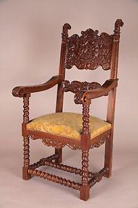 Gothic, Jacobean Carved Arm Chair, English, 19th C. Antique, Handmade, Ex. Cond.