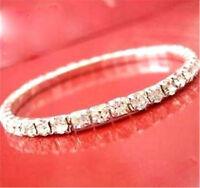 Cristal Brillant Plaqué Or Blanc Bracelet Élastique