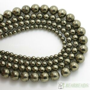 Natural Iron Pyrite Gemstone Round Beads 2mm 3mm 4mm 6mm 8mm 10mm 12mm 14mm 16''