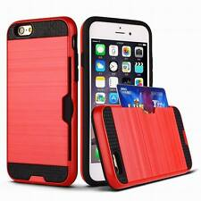 Hard Hybrid Metallic Fusion Credit Card Slot Holder Case For iPhone 6 7 8 Plus X