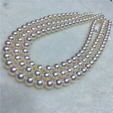"48"" Gorgeous AAA+ 8-9mm natural Japanese Akoya white round pearl necklace 14k"