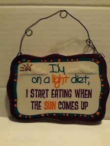 """🌟 3"""" Funny Diet Plaque Sign Ceramic """" I'm on a light diet, I start... (Ganz (a1"""