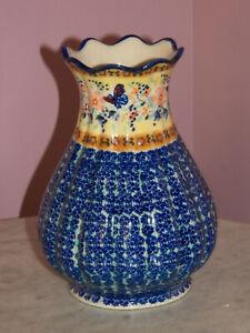 "Polish Pottery 8"" Scalloped Tear Drop Vase! UNIKAT SIgnature Butterfly Summer!"