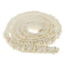 85cm Beaded Lace Trims Craft Applique Ribbon Embellishment DIY Craft White