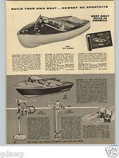 1960 PAPER AD Sportkit Ready Cut Motor Boat Building Kit Wood Wooden 14' 12'