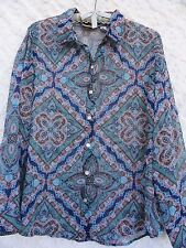 Chico's 2 Sheer Blouse Misses L Poly Blue Green Red Multi Color Chicos 2