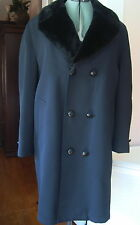 Best Season Mate Black All Weather Coat Boston 46R Fur Lined Double Breasted