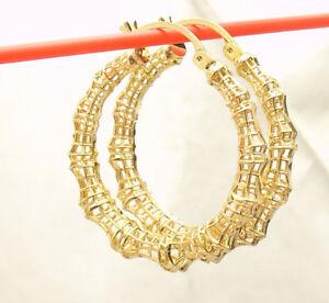 "1.25"" Technibond Filigree Bamboo Hoop Earrings 14K Yellow Gold Clad Silver"