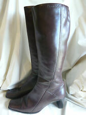 TAMARIS RICH BROWN LEATHER KNEE HIGH LADIES HEELED BOOTS SIZE 40 2.5INCH HEEL