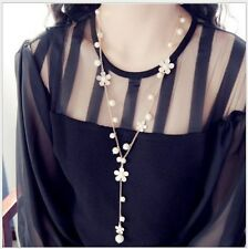 Lady Charm Fashion Enamel Flower White Faux Pearl Long Sweater Chain Necklace AA