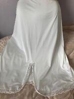 """Vtg M & S Slip Waist 30-34"""" White Silky Soft Polyester Lace Edge Side Slit 16-18"""