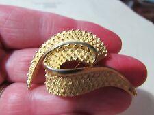 "swirl pin broach brooch Vintage 1 3/4"" goldtone"