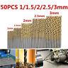 50Pcs Titanium Coated HSS High Speed Steel Drill Bit Set Tool 1/1.5/2/2.5/3mm US