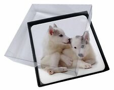 4x Siberian Husky Picture Table Coasters Set in Gift Box, AD-H61C