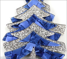 LEA STEIN PARIS LARGE BLUE SPARKLY SILVER CHRISTMAS TREE BROOCH PIN RESIN FRANCE