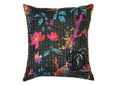 Cotton Handmade Cushion Cover Indian Decor Square Kantha Pillow Case 5 Pcs Black