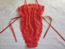 Vintage Lorraine Sheer Chiffon + Lace Tie Side Teddy Red Sexy Lingerie M/L NEW
