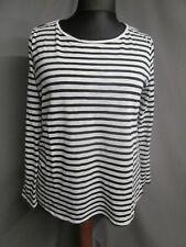 Monari Strick Langarmshirt Shirt schwarz-weiß gestreift A-Linie Gr.44 (M1061)