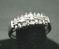 10K WHITE GOLD Diamond Cluster BAND RING Eternity Anniversary 1/10TCW ILLUSION 7