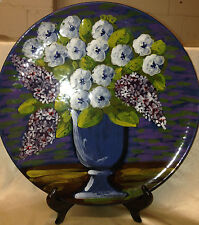 BELLINI ITALY ART POTTERY FOR BLOOMINGDALES FLOWERS IN VASE ROUND PLATTER 15 5/8